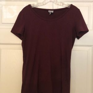 Divided Tops - Maroon Divided T-Shirt